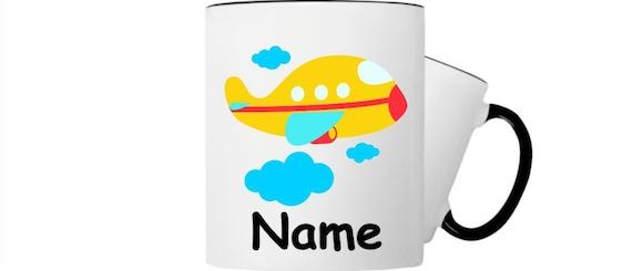 Kinder Tasse Trink Flugzeug Hund mit Wunschnamen