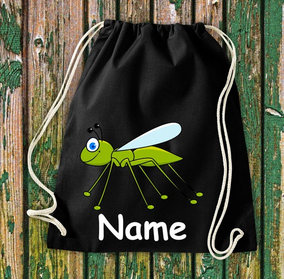 Cotton gym bag gymsack kids motif grasshoppers with wish names animals nature meadows forest pouch bag