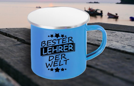 """Emaille Becher """"Bester Lehrer der Welt"""" Tasse Kaffeetasse Kaffeebecher Mug Retro"""