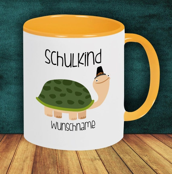 Children Cup Drinking Cup Schoolchild Turtle with Desired Name Enrollment Kita Hort Birthday School Teacup