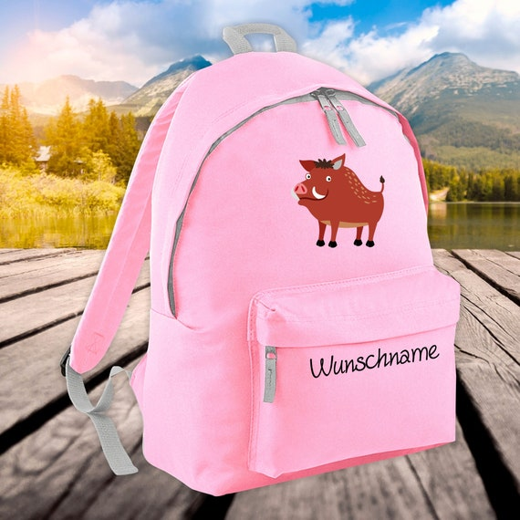 Children's Backpack Animals Wild Boar with Wish Name Wish Text Kita