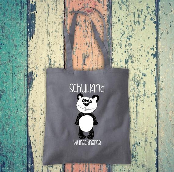 Cloth Bag SchoolChild Animals Panda Bear with Desired Text School Cotton Jute Sports Bag Bag Bag Enrollment