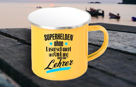 "Enamel Mug ""Superheroes without laser sword and cloak are called teachers"" cup coffee cup mug Mug Retro"