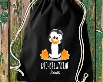 Gym bag Sports bag Change of linen, penguin with desired text Kita Hort School Cotton Gym bag Bag bag bag