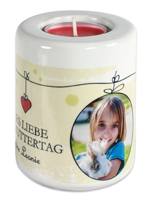 Big candle Holder with your photo enchanted