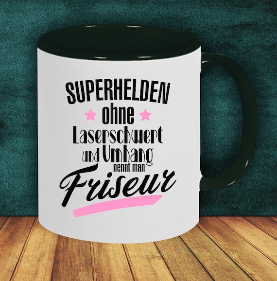 Kaffeepott Tasse Kaffeetasse Superhelden Ohne Laserschwert Und Umhang Nennt Man Friseur Pott Mug Geschenk Job
