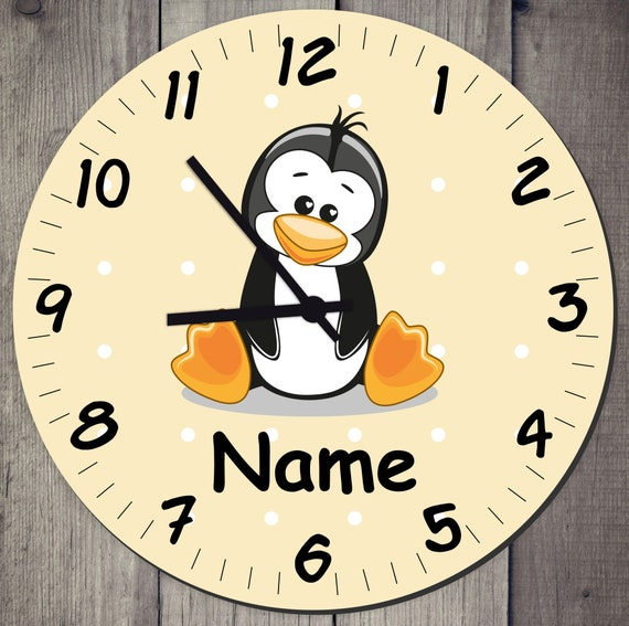 Nursery Clock Wall Clock Pastel Tones with Cute Animals and Wish Names Gift Watch Learn