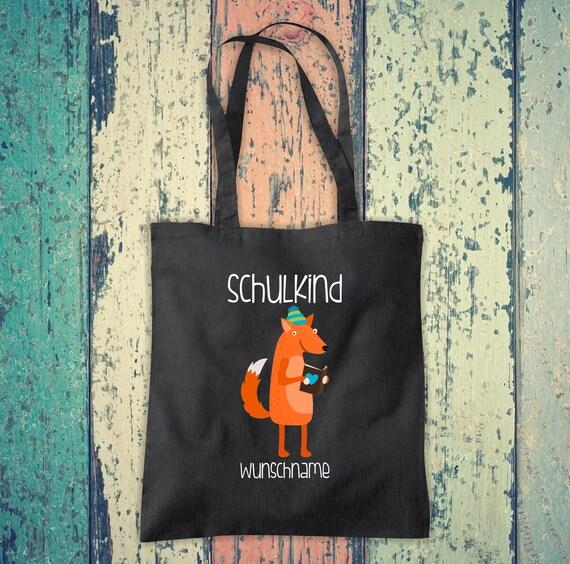 Cloth Bag SchoolChild Animals Fox with Desired Text School Cotton Jute Sports Bag Bag Bag Enrollment