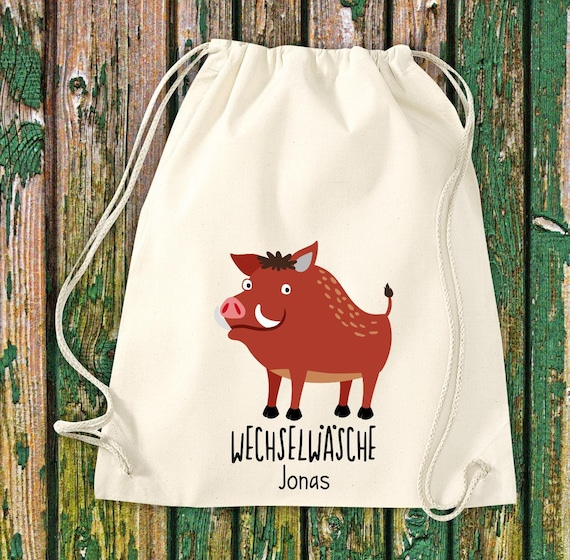 "Gym bag sports bag ""funny animals wild boar, change of linen with desired text Kita Hort School cotton gym bag bag bag bag"
