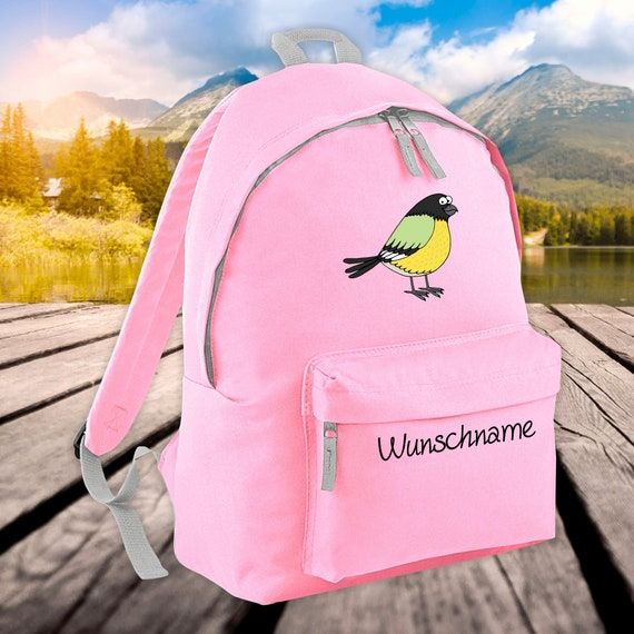 Children's Backpack Animals Bird Sparrow with Wish Name Wish Text Kita