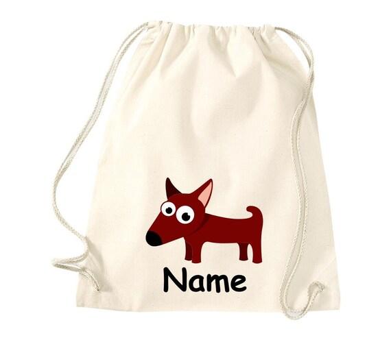 Cotton gym bag gymsack children's motif dog with wish name