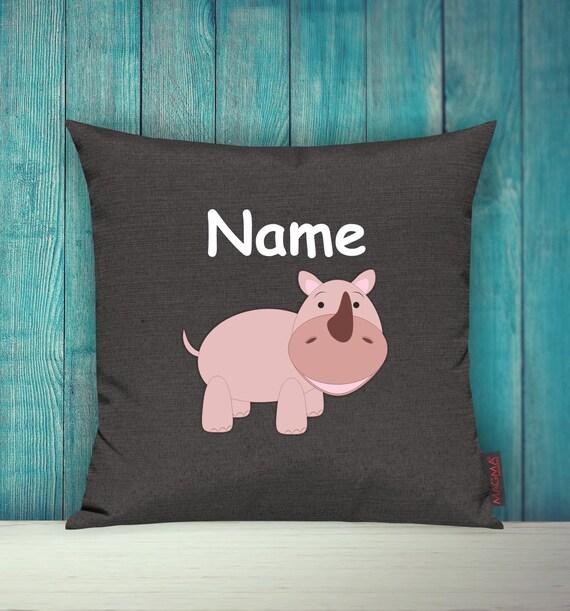 Kissenhülle Sofa Kissen Tiere Animal Nashorn Wunschname Deko Kinderzimmer Geschenk Tiere Natur Füchse Wald