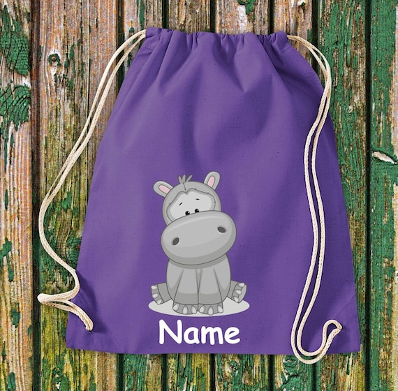 Cotton gym bag Gymsack kids motif hippo pots with wish names animals nature meadows forest pouch bag