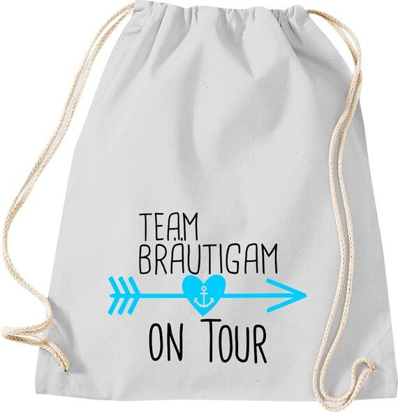 Turnbeutel Team Bräutigam on Tour Junggesellen Abschied mit Anker im Herz-Pfeil Baumwolle Gymsack