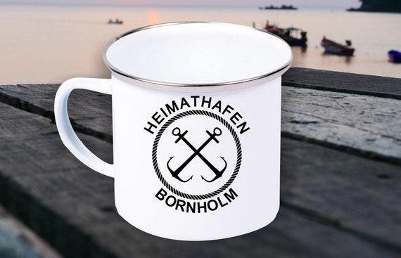"""Emaille Becher """"Heimathafen Bornholm Urlaub Familie"""" Tasse Kaffeetasse Kaffeebecher Mug Retro"""