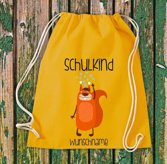 Gym bag Schoolchild Animals Squirrel with desired text School Cotton Gym bag Sports bag Bag Bag Enrolment