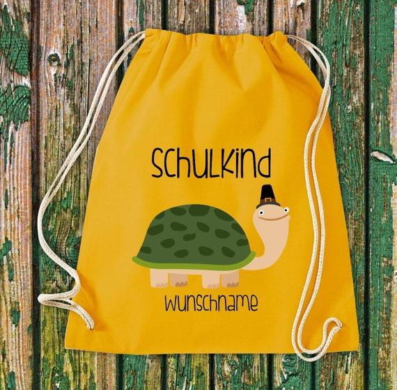 Gym bag Schoolchild Animals Turtle with desired text School Cotton Gym bag Sports bag Bag Bag Enrolment