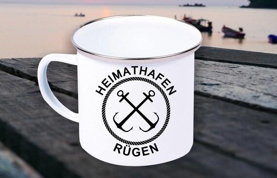 """Emaille Becher """"Heimathafen Rügen Urlaub Familie"""" Tasse Kaffeetasse Kaffeebecher Mug Retro"""
