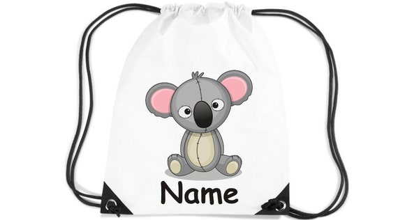Kids Gym Bag Koala + Wish Name Gift Idea Animals Nature Meadows Forest Pouch Bag