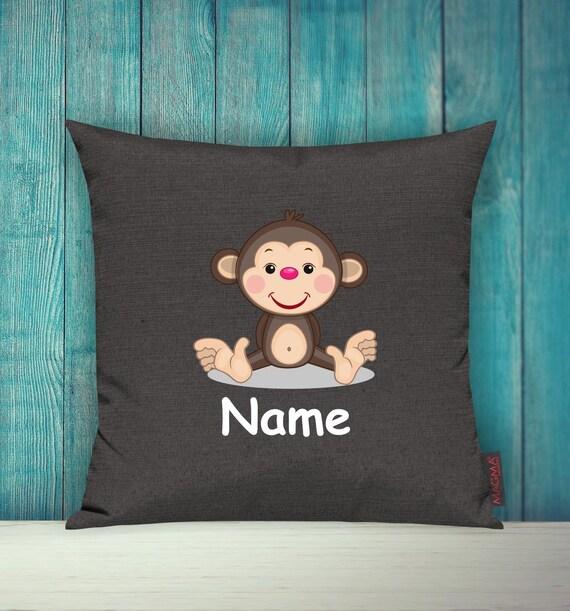 Kissenhülle Sofa Kissen Tiere Animal Affe Wunschname Deko Kinderzimmer Geschenk Tiere Natur Füchse Wald