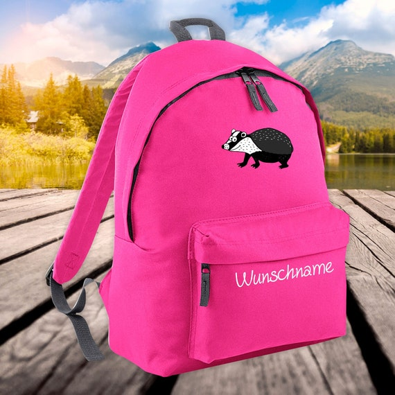 Children's Backpack Animals Badger with Wish Name Wish Text Kita