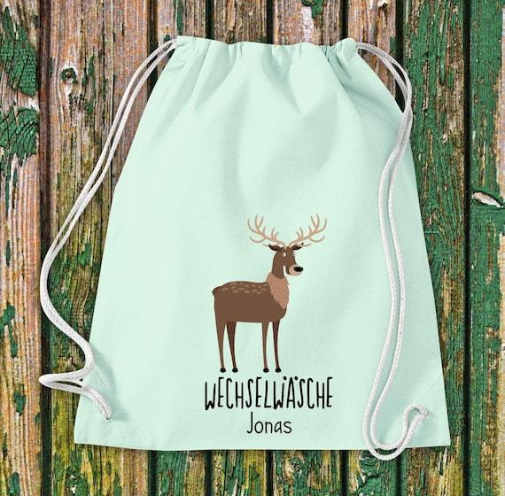 "Gym bag Sports bag ""funny animals deer, change of linen with desired text Kita Hort School Cotton Gym bag Bag bag"