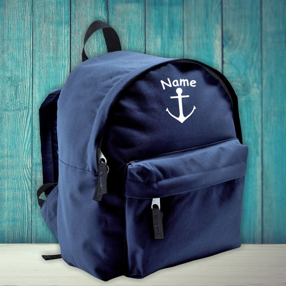 Children's Backpack Anchor Family with Desired Name Wish Text Kita Enrollment School Hort Gift