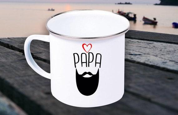 "Enamel Mug ""Dad Dad Hipster Beard Cool"" Cup Coffee Mug Mug Retro"