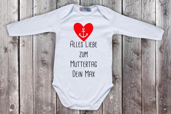 Baby Body Langarm  Babybody Alles Liebe zum Muttertag mit Wunschname Geschenk Longsleeve