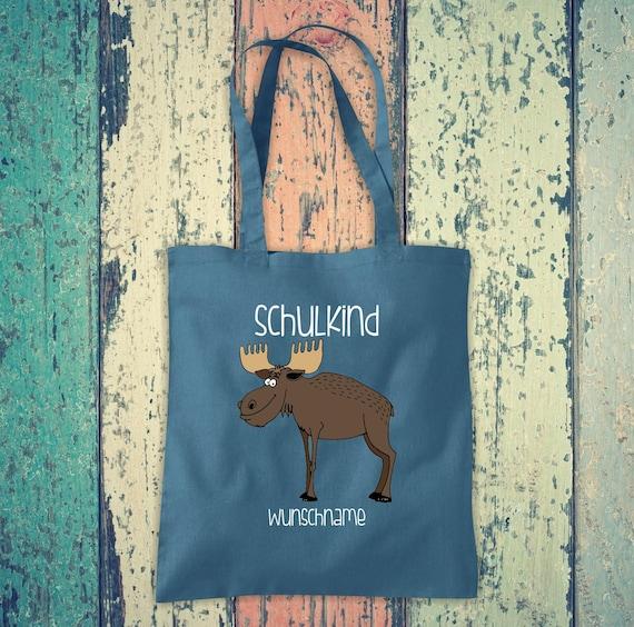 Cloth Bag SchoolChild Animals Moose with Desired Text School Cotton Jute Sports Bag Bag Bag Enrollment