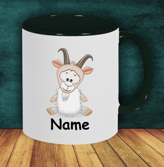 Kids Cup Drinking Mug Goat with Desired Names