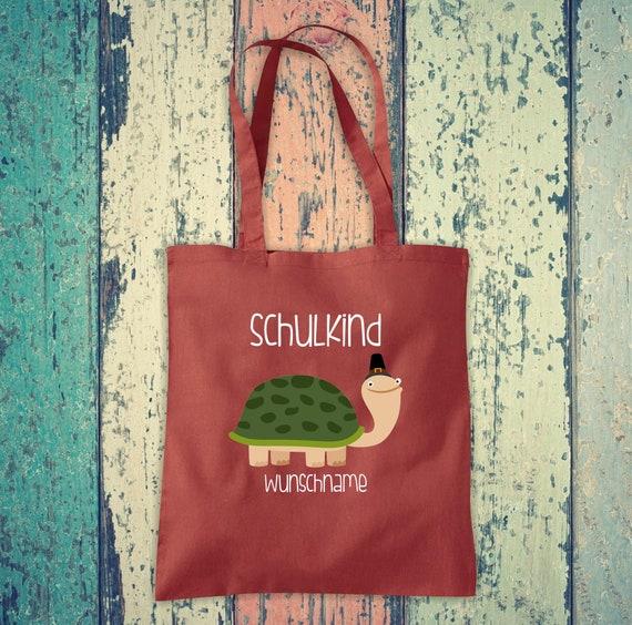Cloth Bag SchoolChild Animals Turtle with Desired Text School Cotton Jute Sports Bag Bag Bag Enrollment