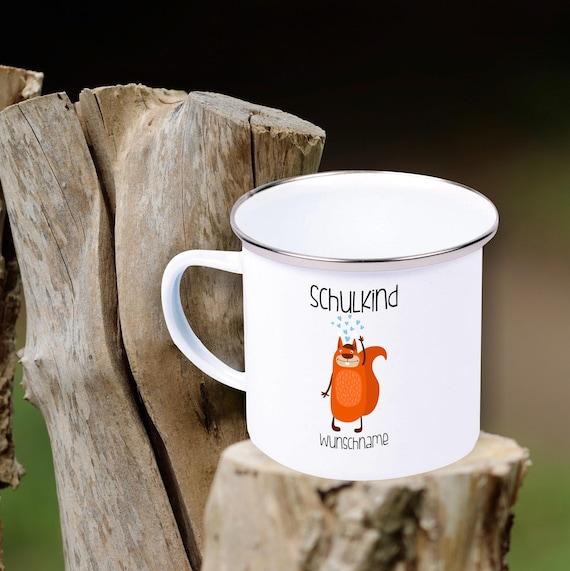"Enamel Children's Mug ""Schoolchild with Desired Name and Animal Motif"" Cup Tea Coffee Mug Coffee Mug Retro Camping"