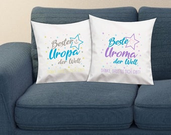 Gift Ideas Pillow Set for The Love Uropa and the Love Uroma of the World, Thank you for giving you!