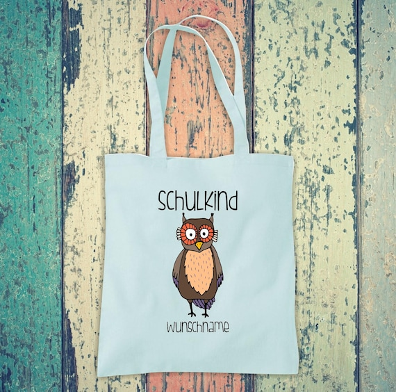 Cloth Bag SchoolChild Animals Owl with Desired Text School Cotton Jute Sports Bag Bag Bag Enrollment