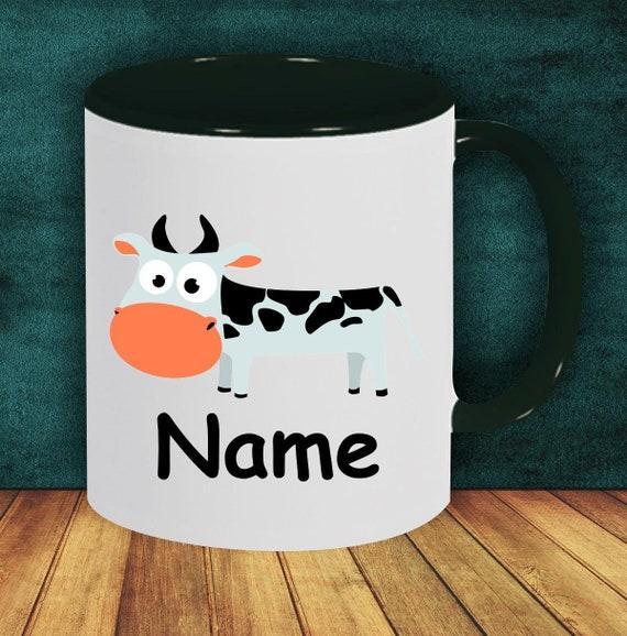 Kinder Tasse Trink Becher Kuh mit Wunschnamen