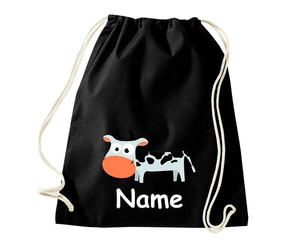 Baumwolle Turnbeutel Gymsack Kinder Motiv Kuh mit Wunschnamen Tiere Natur Wiesen Wald Beutel Tasche