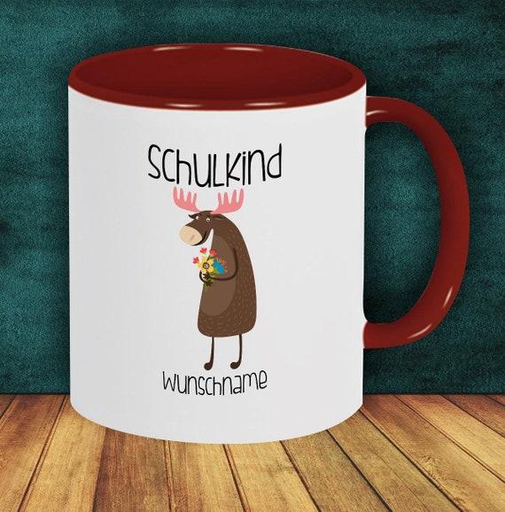 Children Cup Drink mug Schoolchild Moose with desired name Enrollment Kita Hort Birthday School Teacup