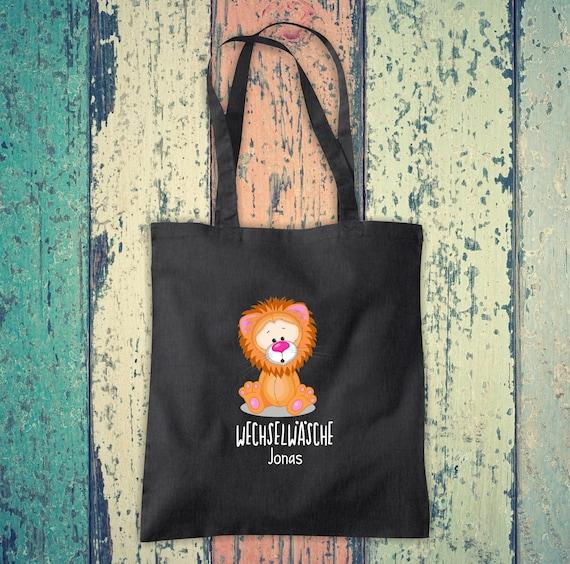Cloth bag change of linen, lion with desired name, desired text school cotton jute sports bag bag bag bag hort enrolment kindergarten animal