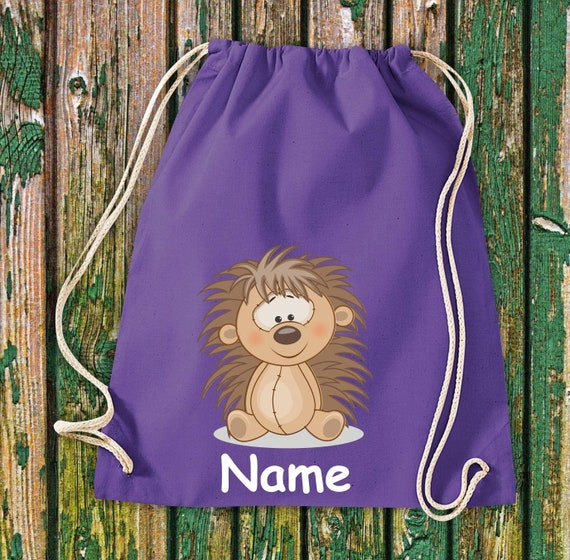 Cotton gym bag Gymsack kids motif hedgehog with wish name animals nature meadows forest pouch bag