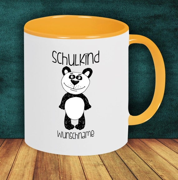 Children Cup Drinking Cup SchoolChild Panda with Desired Name Enrollment Kita Hort Birthday School Teacup