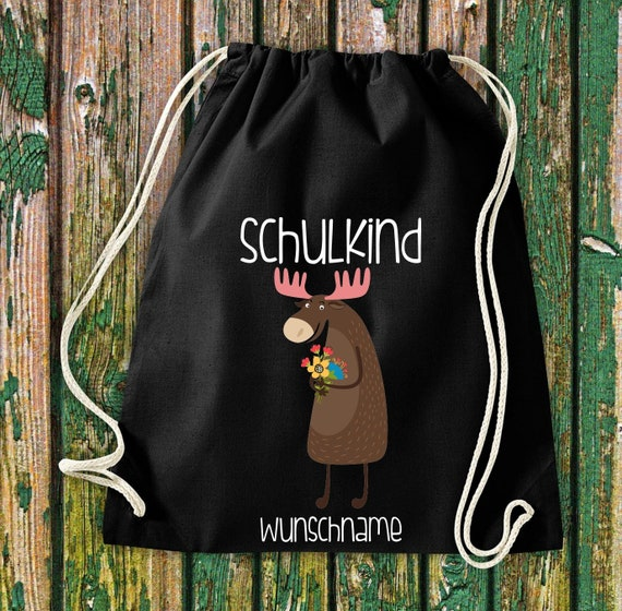 Gym bag Schoolchild Animals Moose with desired text School Cotton Gym bag Sports bag Bag Bag Enrolment