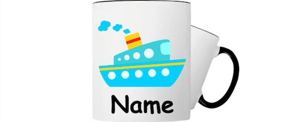 Kinder Tasse Trink Boot Schiff Hund mit Wunschnamen