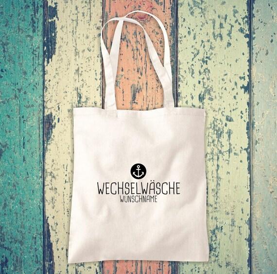 Cloth bag Change of linen Anchor with desired name, desired text School Cotton Jute Sports Bag Bag Bag Bag Hort Enrollment Kita