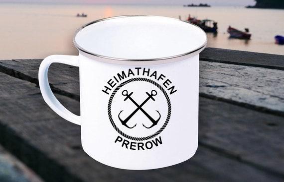 """Emaille Becher """"Heimathafen Prewow Urlaub Familie"""" Tasse Kaffeetasse Kaffeebecher Mug Retro"""