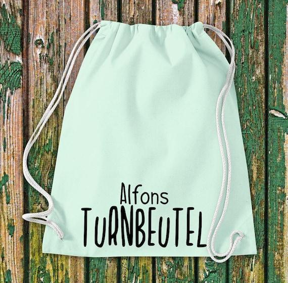 """Turnbeutel Sportbeutel """"Turnbeutel mit Wunschnamen"""" Wunschtext Name Kita Hort Schule Baumwolle Gymsack Tasche Beutel"""