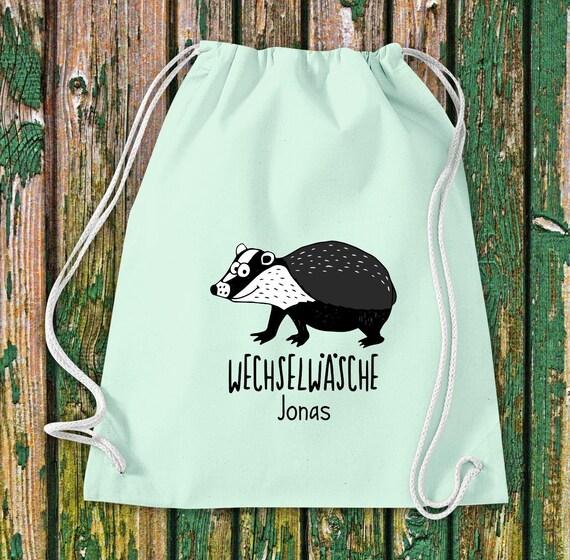 "Gym bag Sports bag ""funny animals Badger, change of linen with desired text Kita Hort School Cotton Gym bag Bag bag"