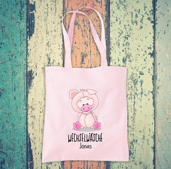 Cloth bag change of linen, pig with desired name, desired text school cotton jute sports bag bag bag bag hort enrolment kindergarten animal