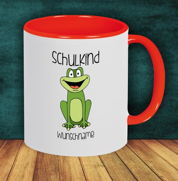 Children Cup Drinking Cup Schoolchild Frog with Desired Name Enrollment Kita Hort Birthday School Teacup