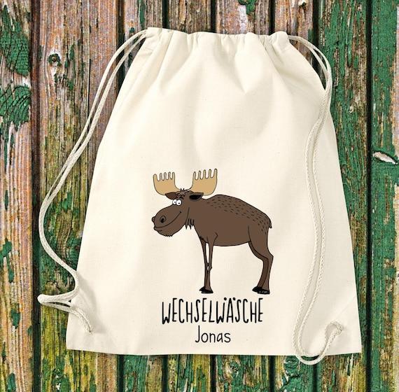 "Gym bag Sports bag ""funny animals moose deer, change of linen with desired text Kita Hort School Cotton Gym bag Bag bag bag"